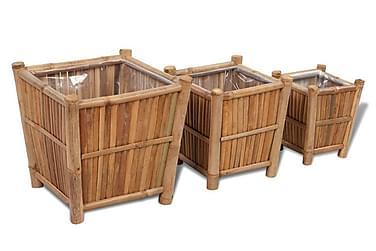 Planteringslåda i bambu med nylonfoder 3 st