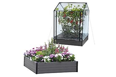 NSH Hortus Planteringslåda+Plastväxthus 24x110x110 cm