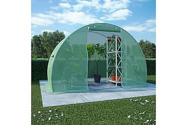Växthus m. stålgrund 4,5m2 300x150x200 cm