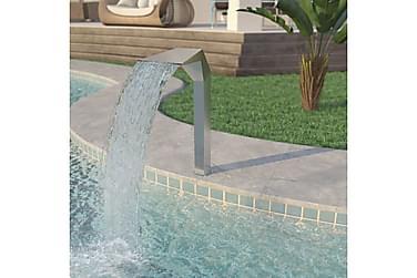 Poolfontän rostfritt stål 50x30x90 cm silver