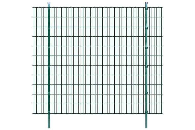 2D Stängselpaneler med stolpar 2008x2230 mm 8 m grön - Grön - Trädgård - Trädgårdsdekoration & utemiljö - Staket & grindar