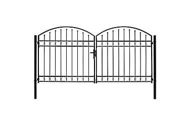Dubbelgrind med välvd topp 300x125 cm stål svart