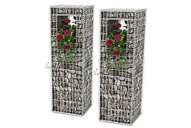 Gabionkorg med planteringsmöjlighet 2 st stål 50x50x160 cm