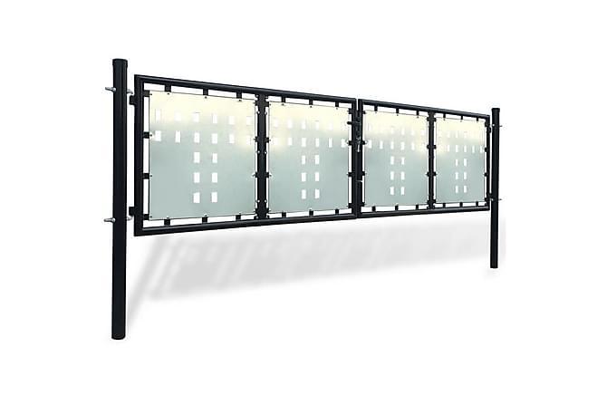 Grind dubbeldörr svart 300 x 125 cm - Trädgård - Trädgårdsdekoration & utemiljö - Staket & grindar