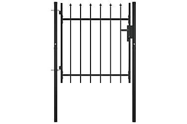 Grind med dörr och spjut-toppar 100x75 cm