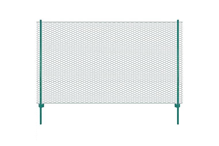 Nätstängsel med stolpar stål 25x2 m grön