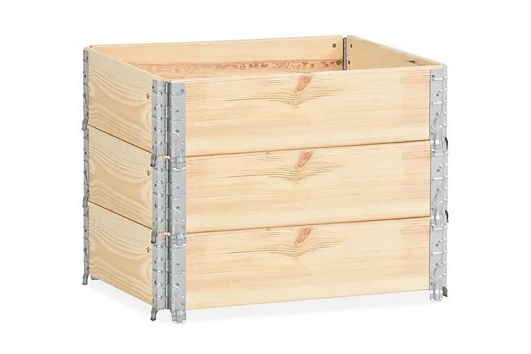 Pallkrage 3 st 60x80 cm massiv furu - Brun - Trädgård - Trädgårdsdekoration & utemiljö - Staket & grindar