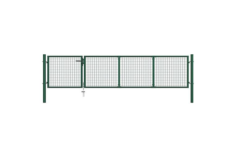 Trädgårdsgrind stål 350x75 cm grön - Grön - Trädgård - Trädgårdsdekoration & utemiljö - Staket & grindar