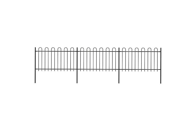 Trädgårdsstaket med böjd topp stål 5,1x1 m svart - Svart - Trädgård - Trädgårdsdekoration & utemiljö - Staket & grindar