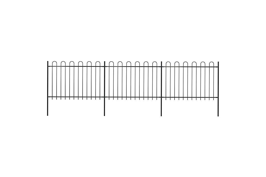 Trädgårdsstaket med böjd topp stål 5,1x1,2 m svart - Svart - Trädgård - Trädgårdsdekoration & utemiljö - Staket & grindar