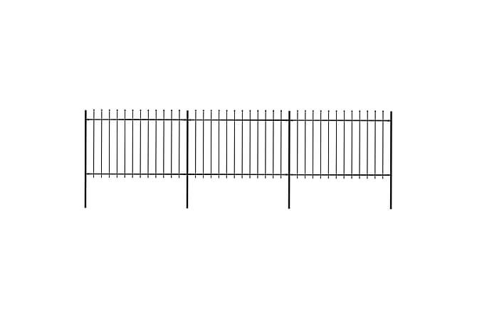 Trädgårdsstaket med spjuttopp stål 5,1x1,2 m svart - Svart - Trädgård - Trädgårdsdekoration & utemiljö - Staket & grindar