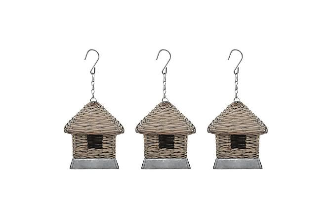 Fågelholkar 3 st korg - Grå|Vit - Trädgård - Trädgårdsdekoration & utemiljö - Trädgårdsfigurer & trädgårdsprydnad