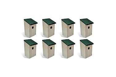 Fågelholkar 8 st trä 14x15x22 cm