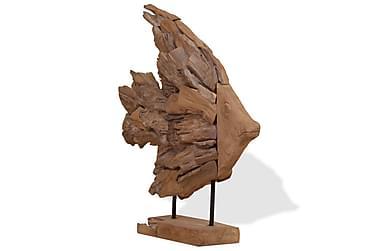 Fiskskulptur teak 40x12x57 cm