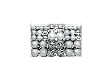 Julgranskulor 100 delar set 6 cm silver