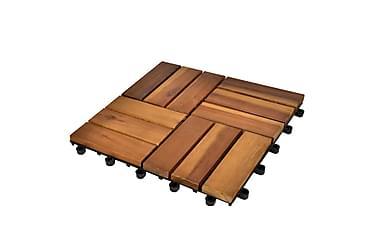 Balkongplattor av Akaciaträ 30 x 30 cm 10 st