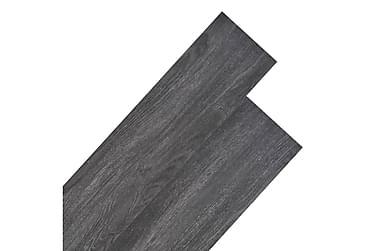 Golvbrädor i PVC 5,26 m² svart och vit