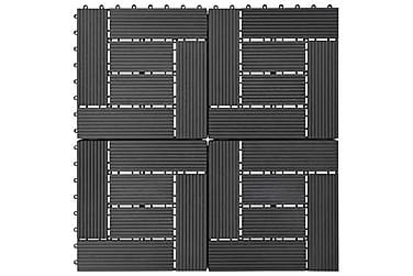 Trall 11 st WPC 30x30 cm 1 kvm svart