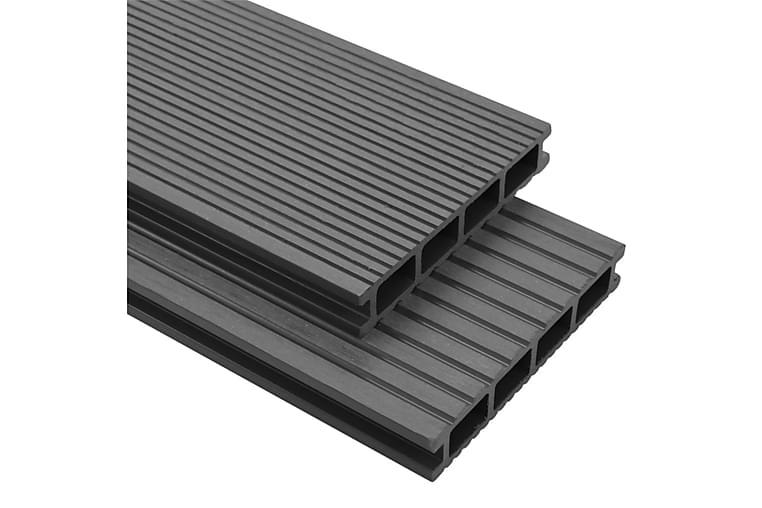 WPC golvplattor med tillbehör 16 m² 2,2 m grå - Grå - Trädgård - Trädgårdsdekoration & utemiljö - Trall