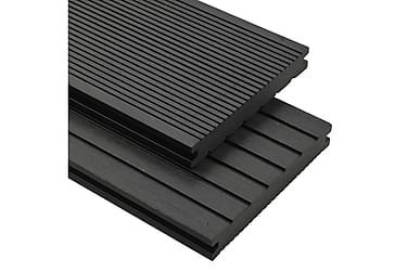 WPC-golvplattor med tillbehör 26 m² 2,2 m svart