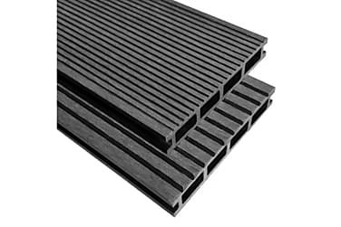 WPC golvplattor med tillbehör 40 m² 2,2 m grå