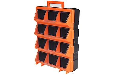 Portabel väggmonterad verktygslåda 12 fack