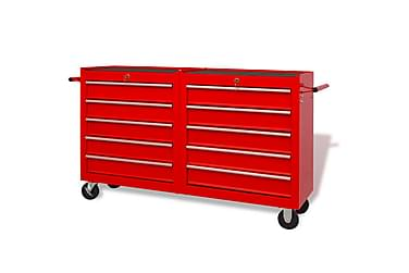 Verktygsvagn med 10 lådor storlek XXL stål röd