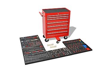 Verktygsvagn med 1125 verktygsstål röd