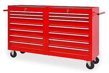 Verktygsvagn med 14 lådor storlek XXL stål röd