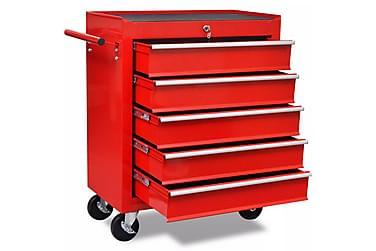 Verktygsvagn med 5 lådor röd