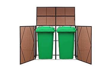 Dubbelt skjul för soptunnor konstrotting 153x78x120 cm brun