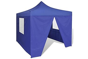 Blått hopfällbart tält 3 x 3 m med 4 väggar