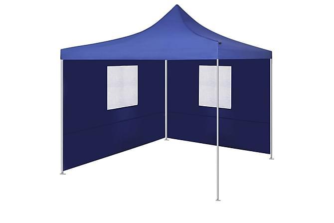 Hopfällbart tält med 2 väggar 3x3 m blå - Trädgård - Utomhusförvaring - Trädgårdstält & förvaringstält