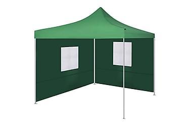 Hopfällbart tält med 2 väggar 3x3 m grön