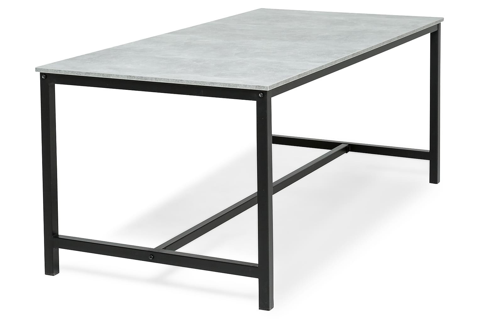 BECKY Ruokapöytä 180x90 cm Musta/Betoni