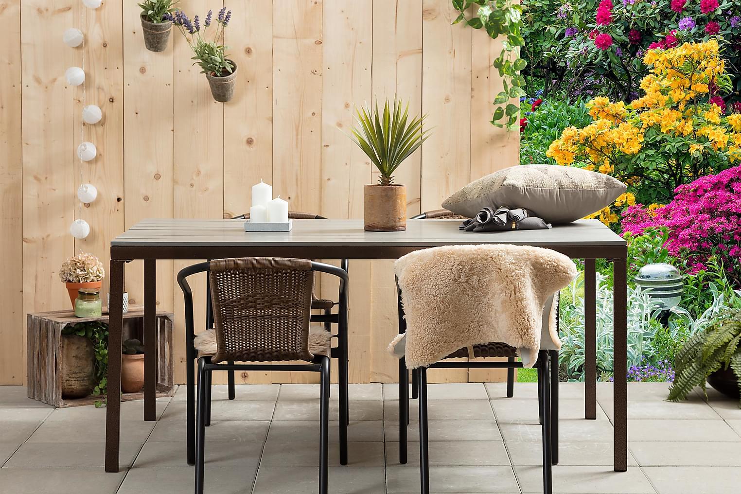 AGNÄS Pöytä 159 Harmaa + 4 ALMEDALEN Pinottavaa tuolia Ruske