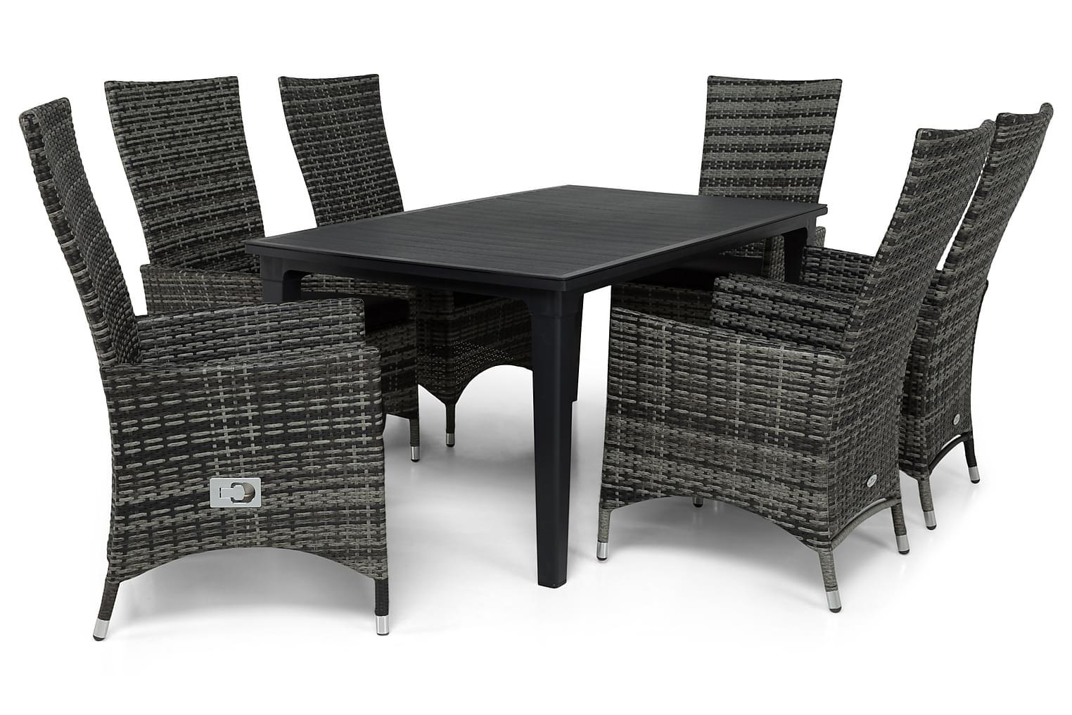 ALAMOSA Pöytä 165 + 6 JENNIE Säädettävää nojatuolia Harmaa