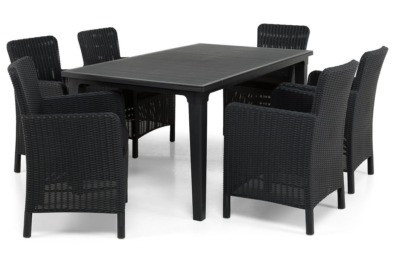 ALAMOSA Pöytä 165 Grafiitti + 6 CALVER Nojatuolia Musta