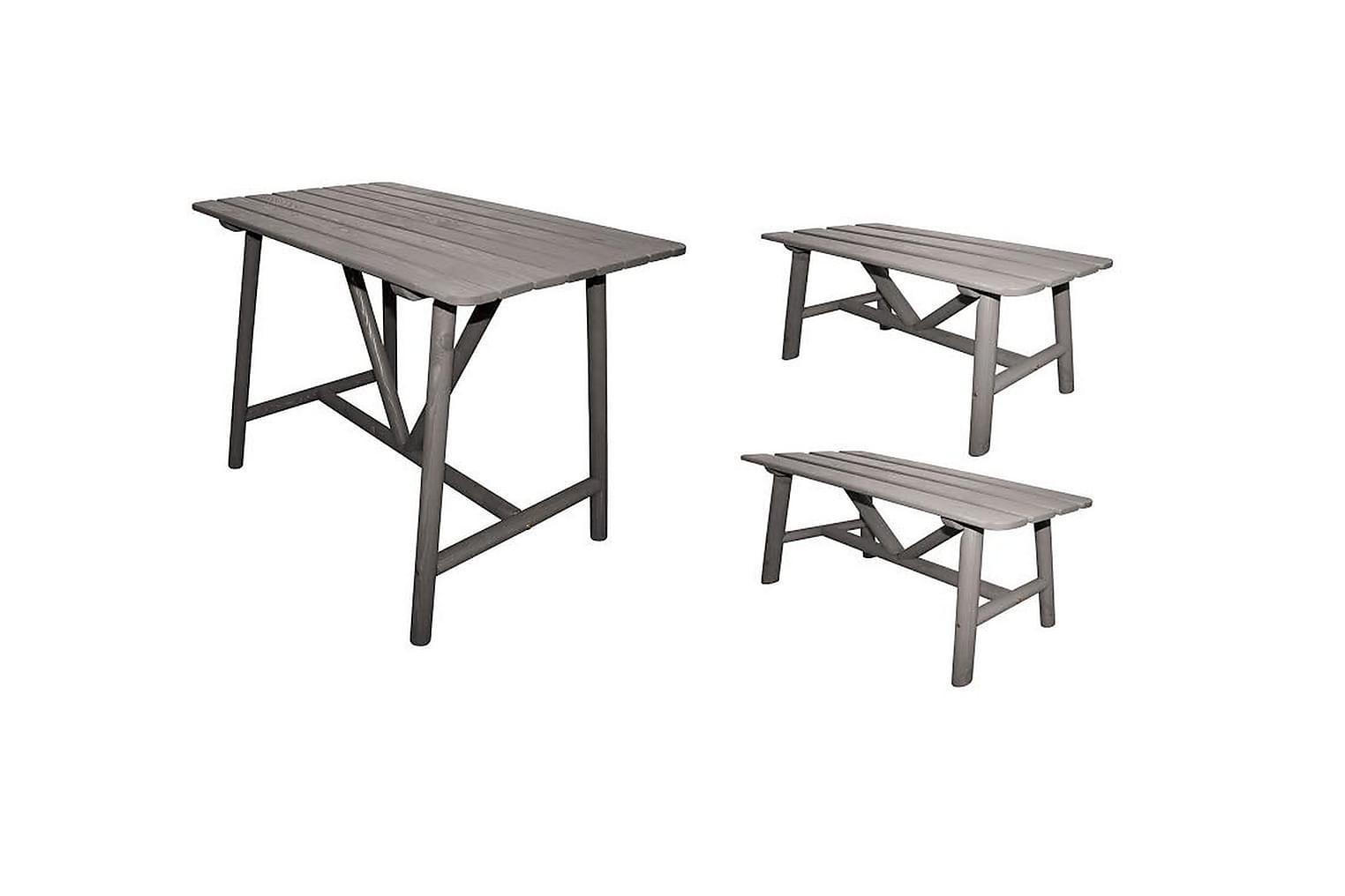 ÅLAND Pöytä 95 + 2 penkkiä Harmaa