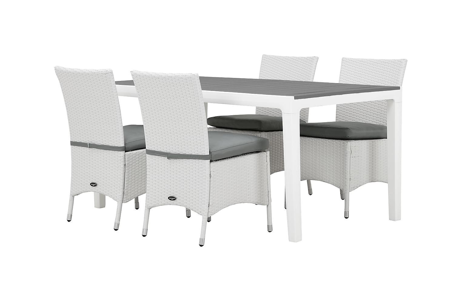 BILBAO Pöytä 160 + 4 ARUBA Tuolia Valkoinen/Harmaa