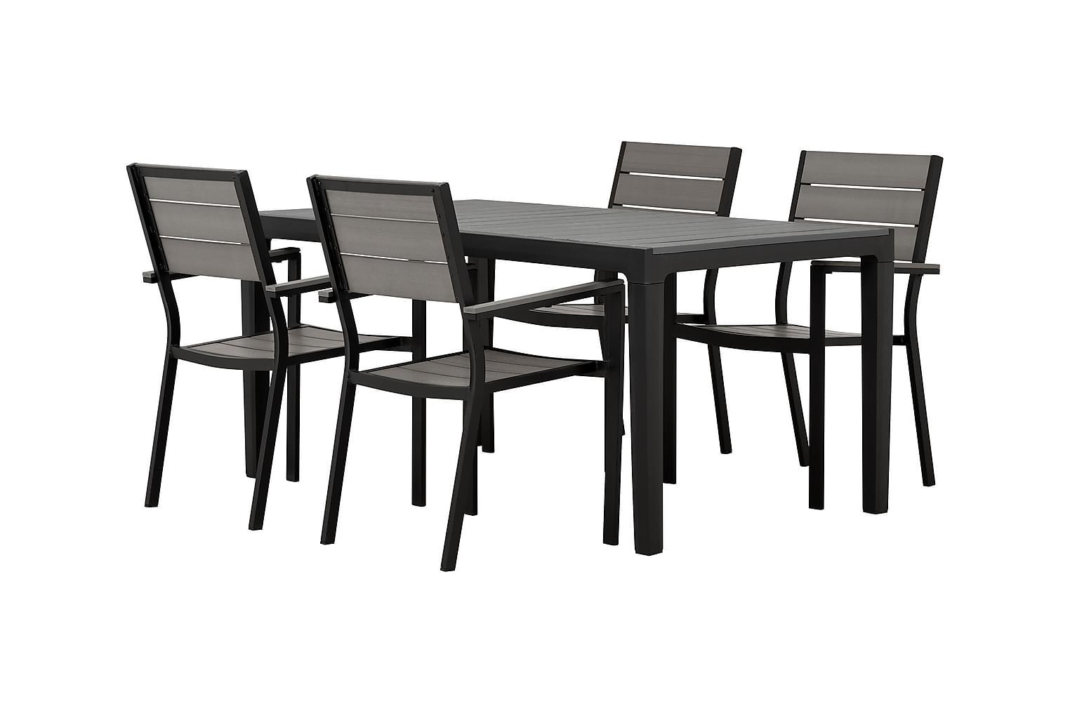BILBAO Pöytä 160 + 4 LAPAZ Pinottavaa tuolia Musta/Harmaa