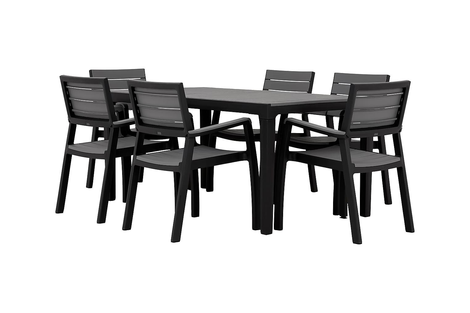 BILBAO Pöytä 160 + 6 Käsinojallista tuolia Harmaa/Musta