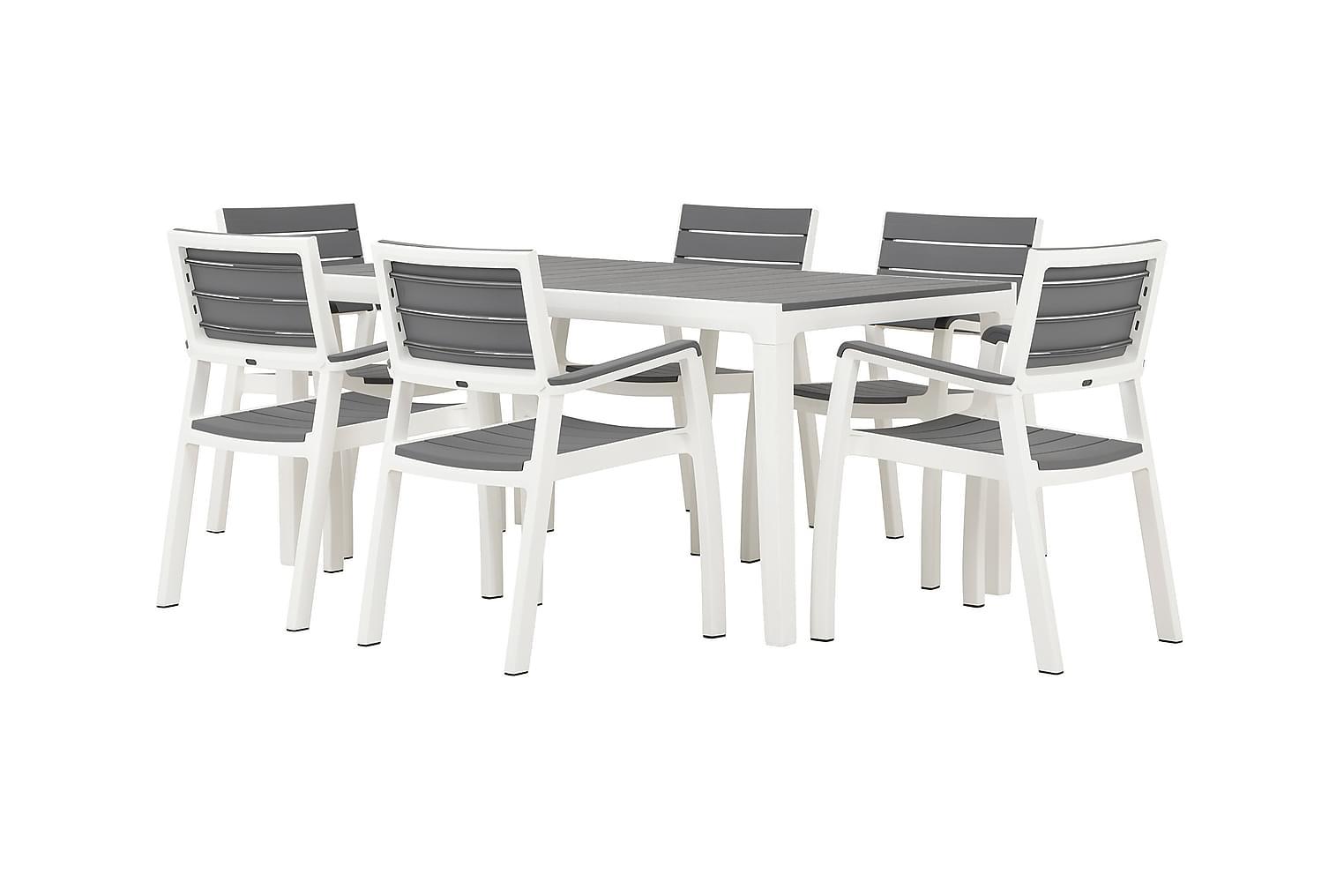 BILBAO Pöytä 160 + 6 Käsinojallista tuolia Harmaa/Valkoinen