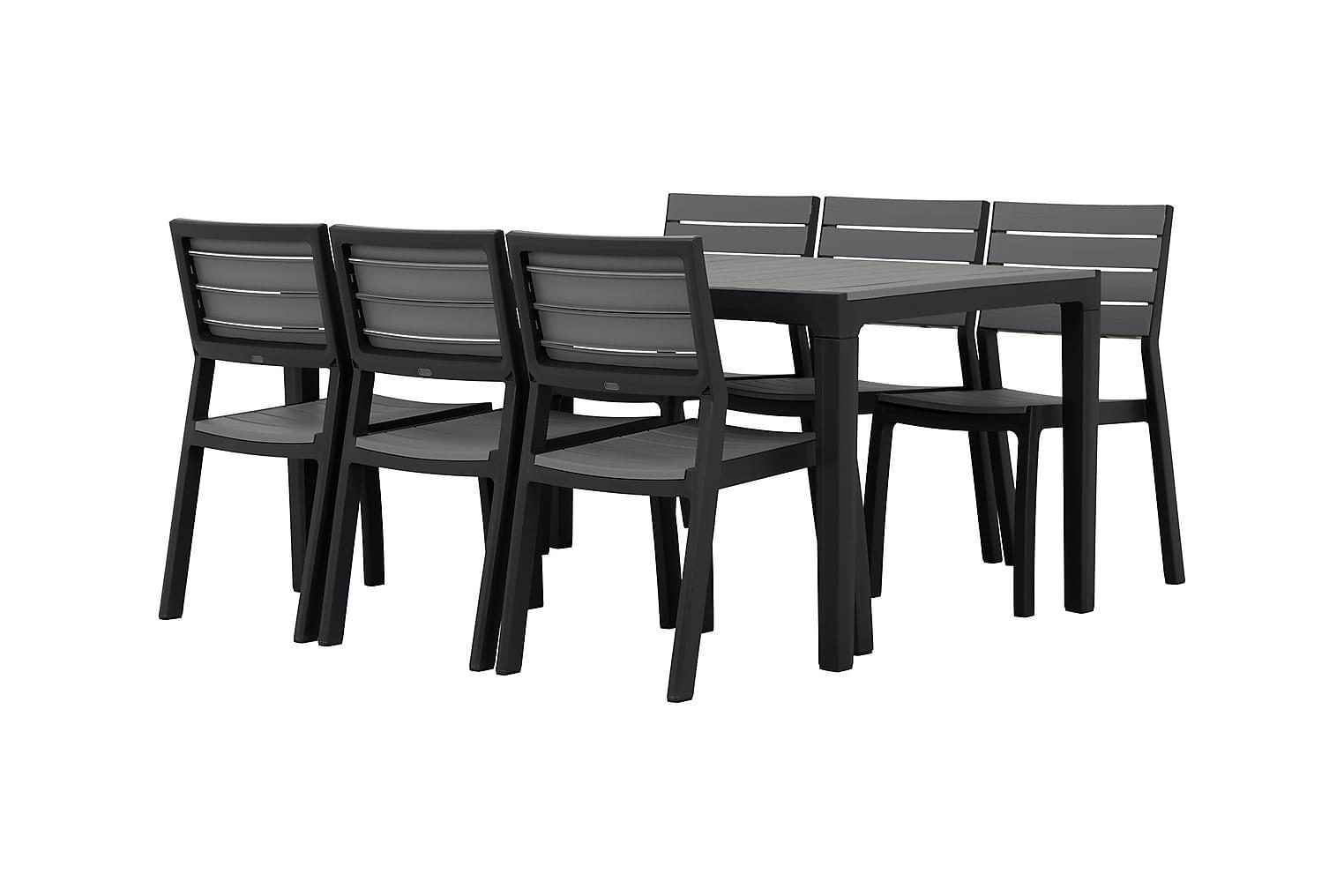 BILBAO Pöytä 160 + 6 Tuolia Harmaa/Musta