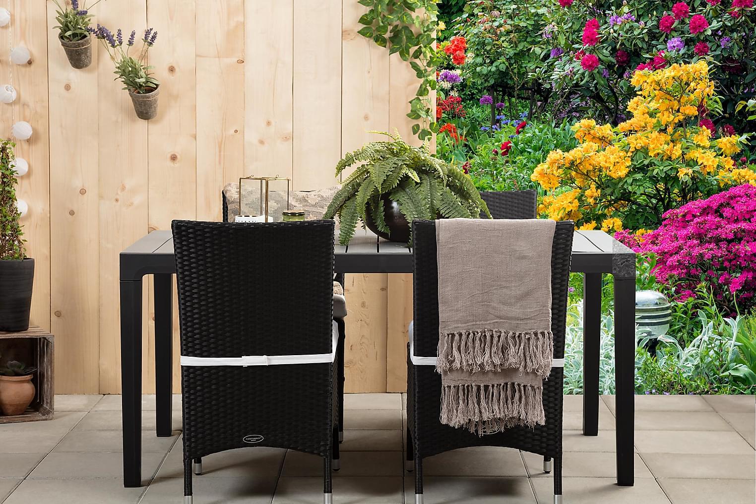 BILBAO Pöytä 160 Harmaa/Musta + 4 ARUBA Tuolia Musta/Valkoin