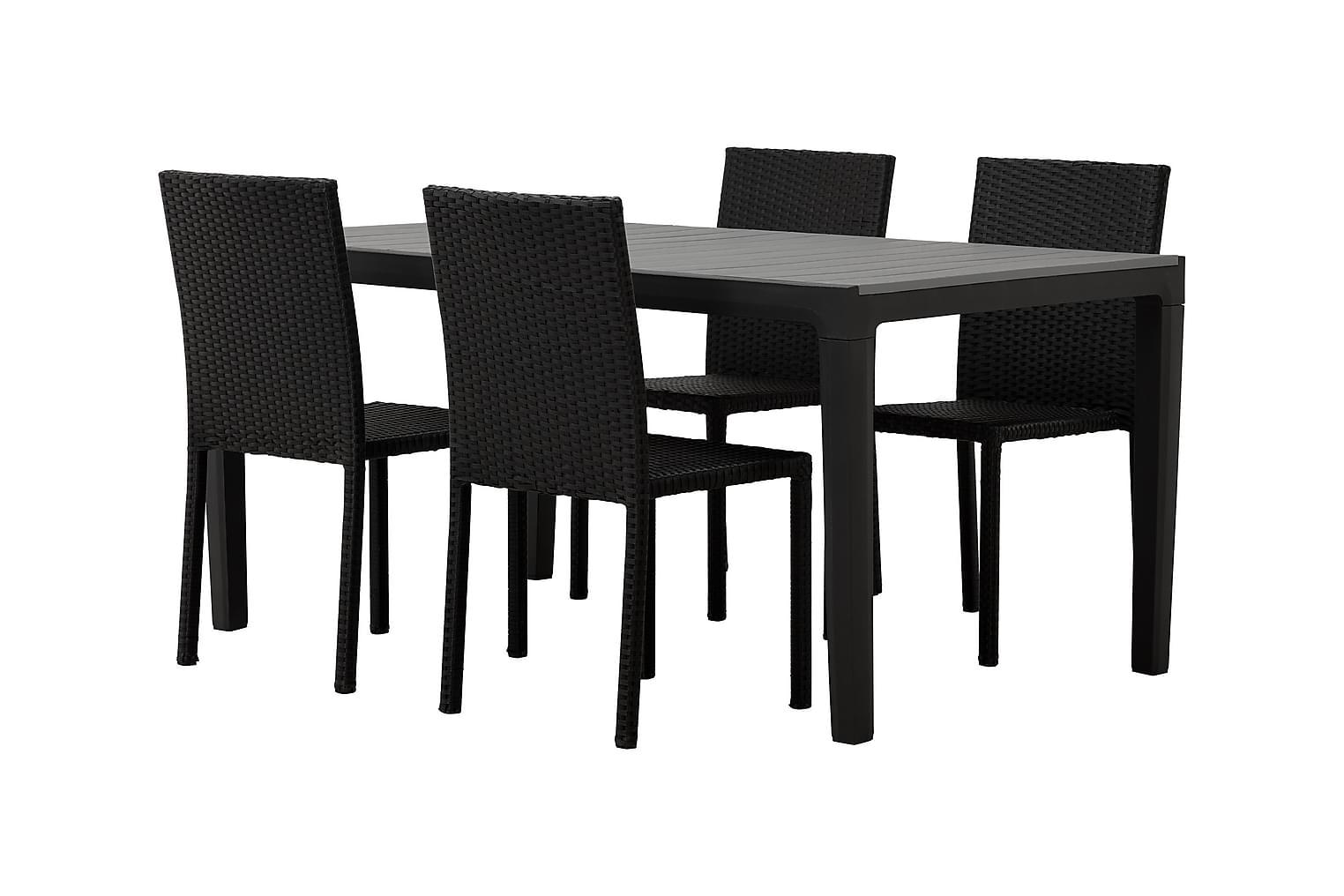 BILBAO Pöytä 160 Harmaa/Musta + 4 JULITA Tuolia Musta