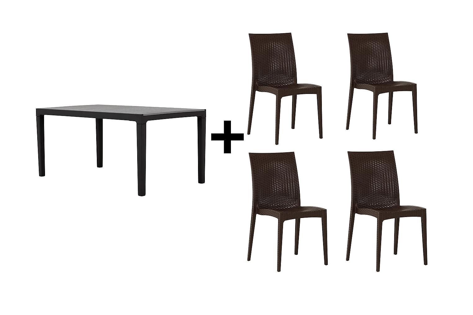 BILBAO Pöytä 160 Harmaa/Musta + 4 LEORA Tuolia Ruskea