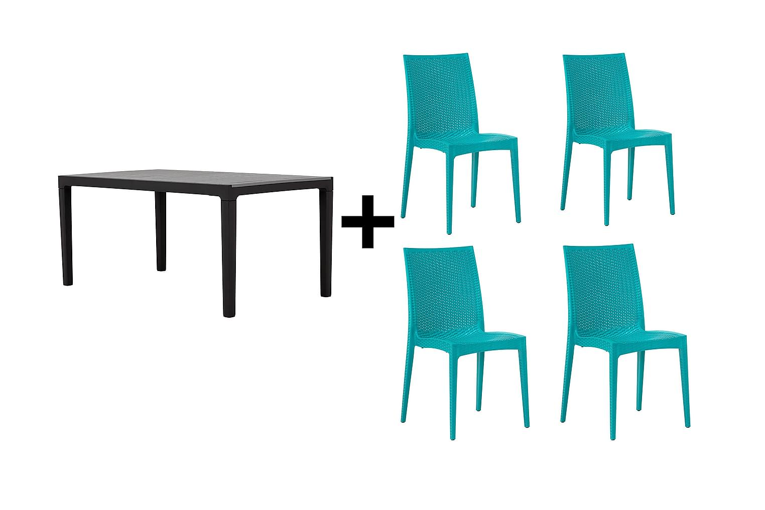 BILBAO Pöytä 160 Harmaa/Musta + 4 LEORA Tuolia Turkoosi