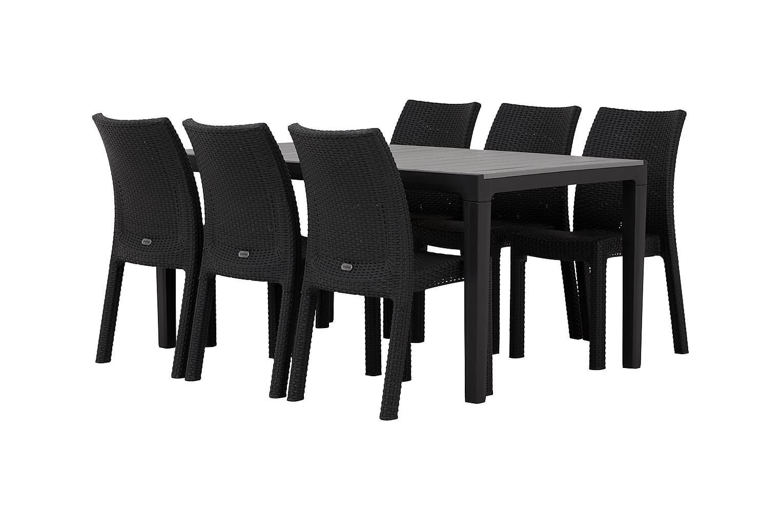 BILBAO Pöytä 160 Harmaa/Musta + 6 DREW Tuolia Musta