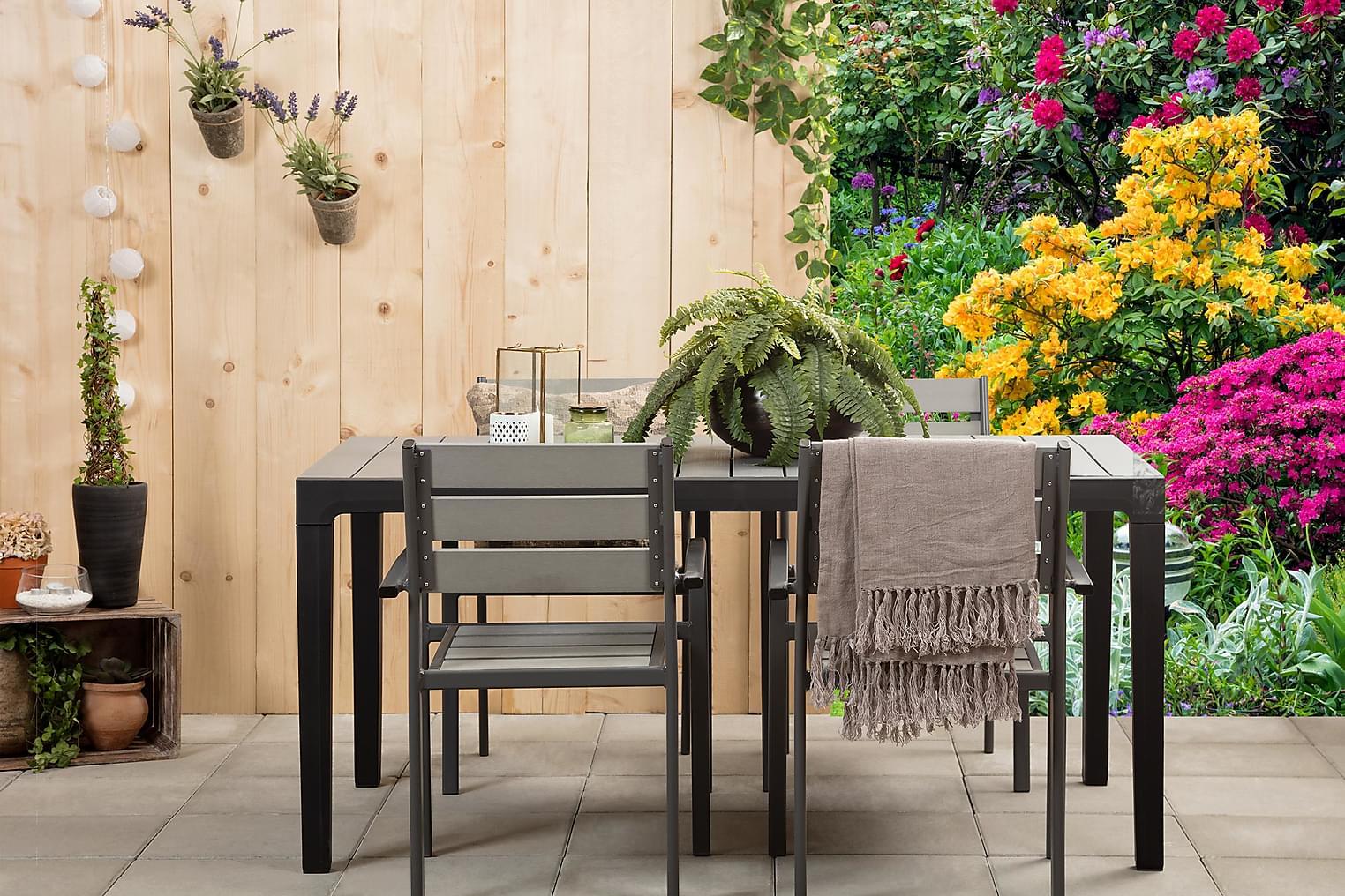 BILBAO Pöytä 160 Musta/Harmaa + 4 ARRIETA Pinottavaa tuolia
